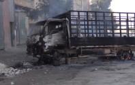 Zerbombter Lastwagen in Aleppo